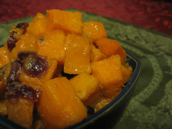 Maple Roasted Yams with Cranberries and Orange