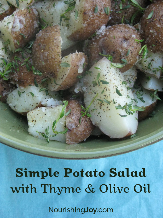 Simple Potato Salad with Thyme and Olive Oil - perfect for picnics and summertime meals | NourishingJoy.com