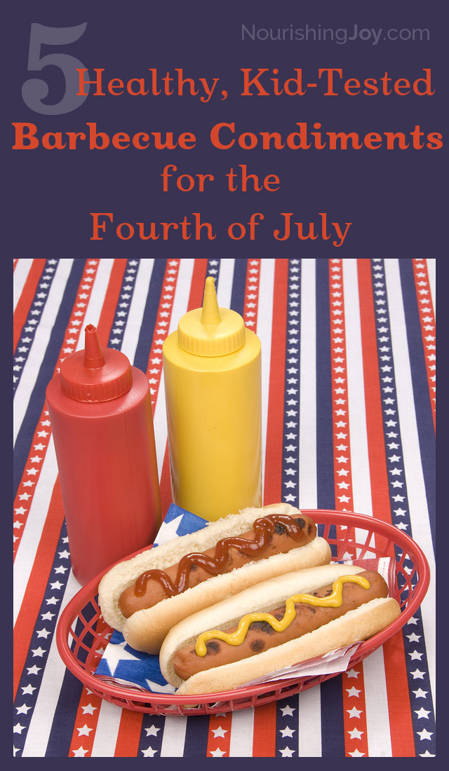 Make your own ketchup, mustard, barbecue sauce, pickle relish, and mayonnaise for your next barbecue! These versions taste like the store-bought versions, but are free of preservatives, HFCS, and other additives!