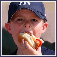 a boy and his hot dog - make your own homemade condiments for your next barbecue - easy peasy!