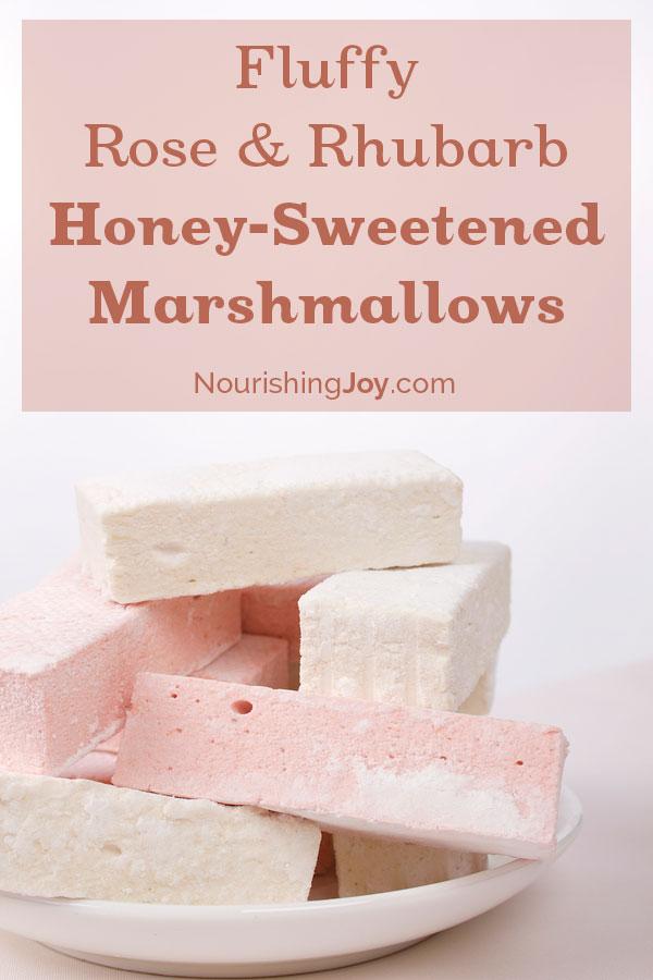 Fluffy Rose & Rhubarb Honey-Sweetened Marshmallows | NourishingJoy.com