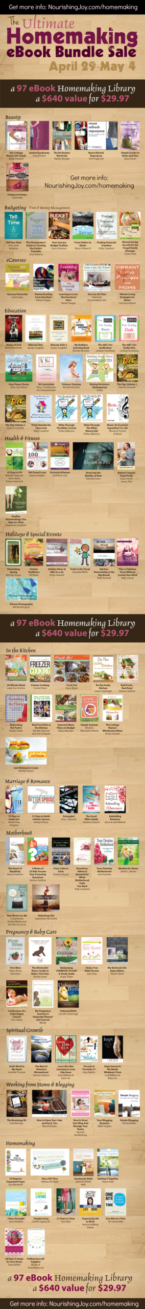 Get 97 (!) e-books for only $29.97with The Ultimate Homemaking E-Book Bundle. The value is incredible and these books can be stored in your own library or can be given as gifts to friends. Plus, it would make a perfect Mother's Day gift!