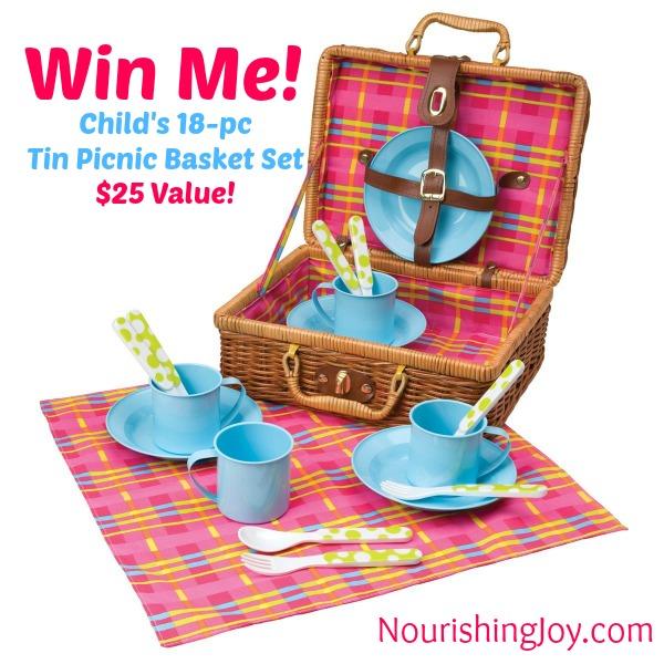 Win a child's tin picnic basket set at NourishingJoy.com! Enter to win through July 31.