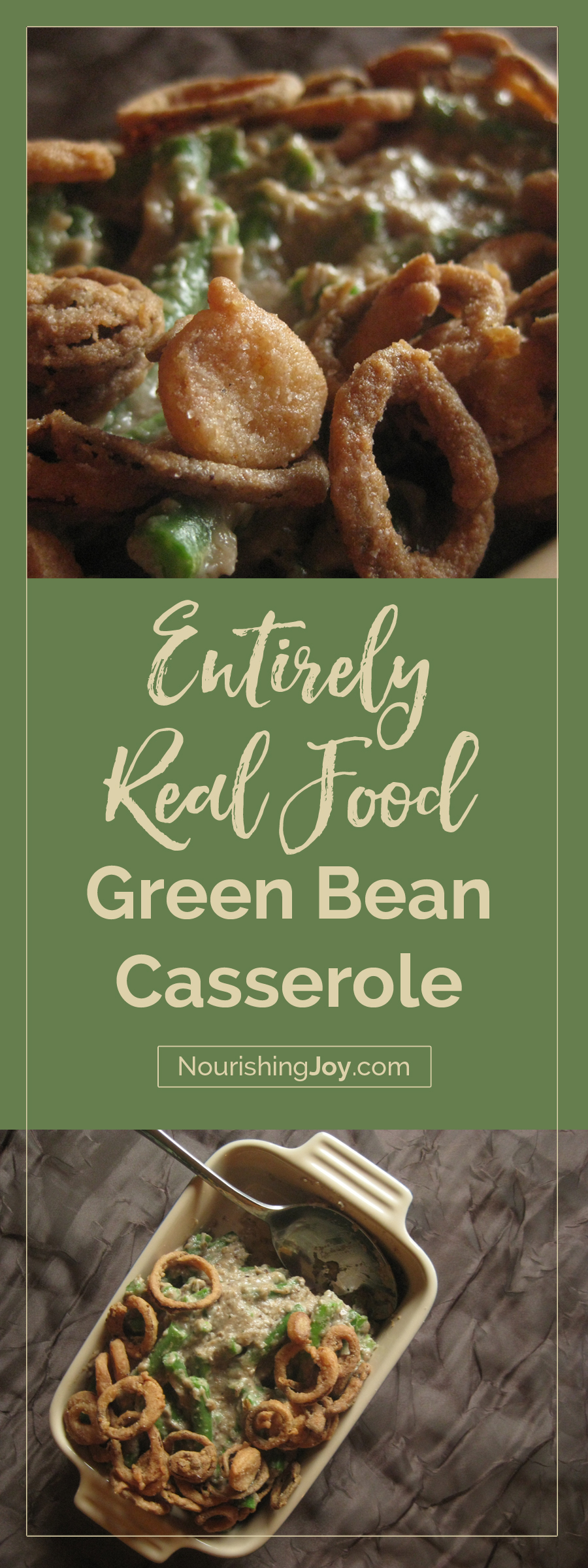 This real food green bean casserole is wholesome and delicious all the way so that whole food families can once again enjoy this holiday classic. The beauty of this time-tested recipe relies on simple, homemade ingredients that taste EXACTLY like the classic - only fresher and tastier. :)