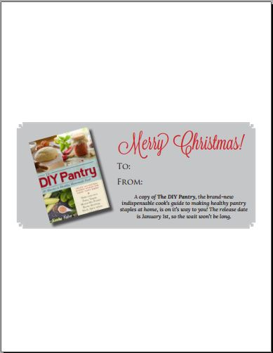 The DIY Pantry gift coupon