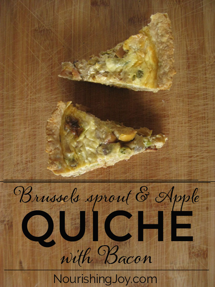 Bacon, Brussels sprout, and Apple Quiche - sounds crazy, but it's crazy delicious | NourishingJoy.com