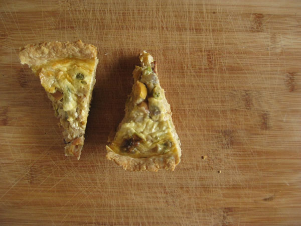 Bacon, Brussels Sprouts, and Apple Quiche