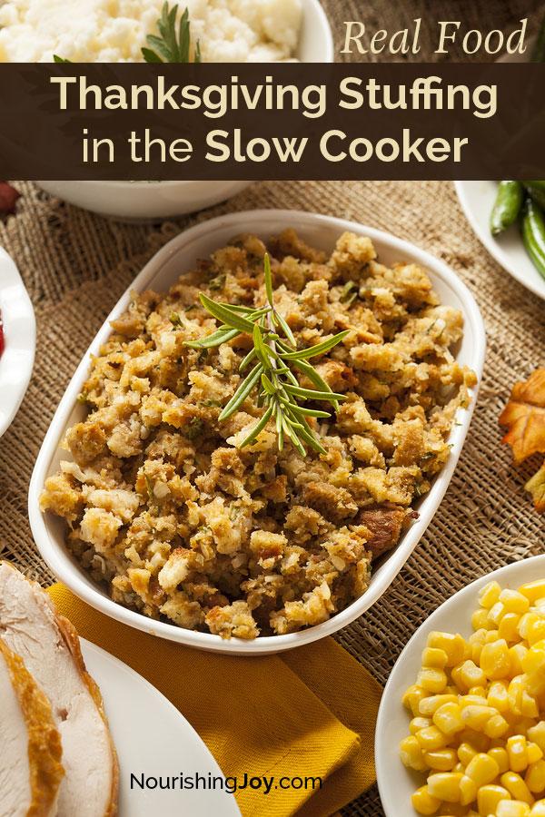 Slow Cooker Stuffing for Thanksgiving (or anytime!) | NourishingJoy.com