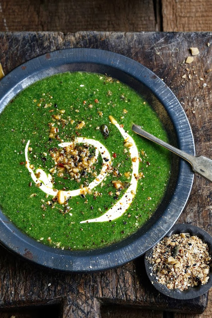 New Years Resolution Spinach, Broccoflower and Coriander Soup with Yoghurt Feta Swirl and Dukkah from From the Kitchen