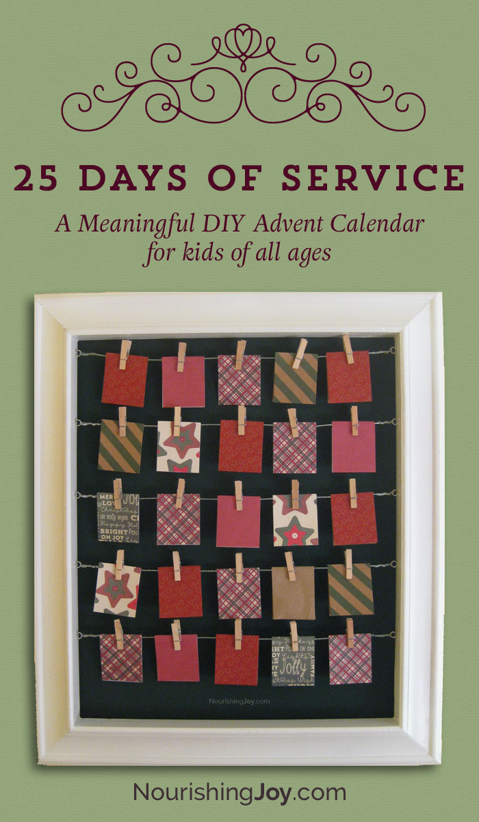 Diy Calendar For Kids : Days of service advent calendar nourishing joy