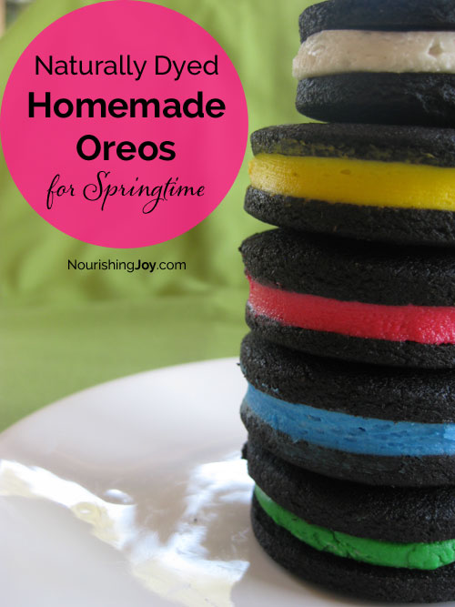 Homemade Oreos that are dyed for springtime or Easter fun can certainly be dyed for other holidays and festive occasions too!