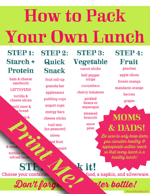 """How to Pack Your Own Lunch"" printable"