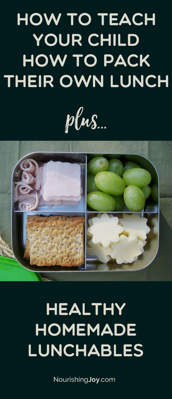 Healthy homemade lunchables make lunch packing SIMPLE, whether the parent or the child is doing the packing! There's also a TON of printable info in this post to help your kids be able to pack their own healthy lunch. :)