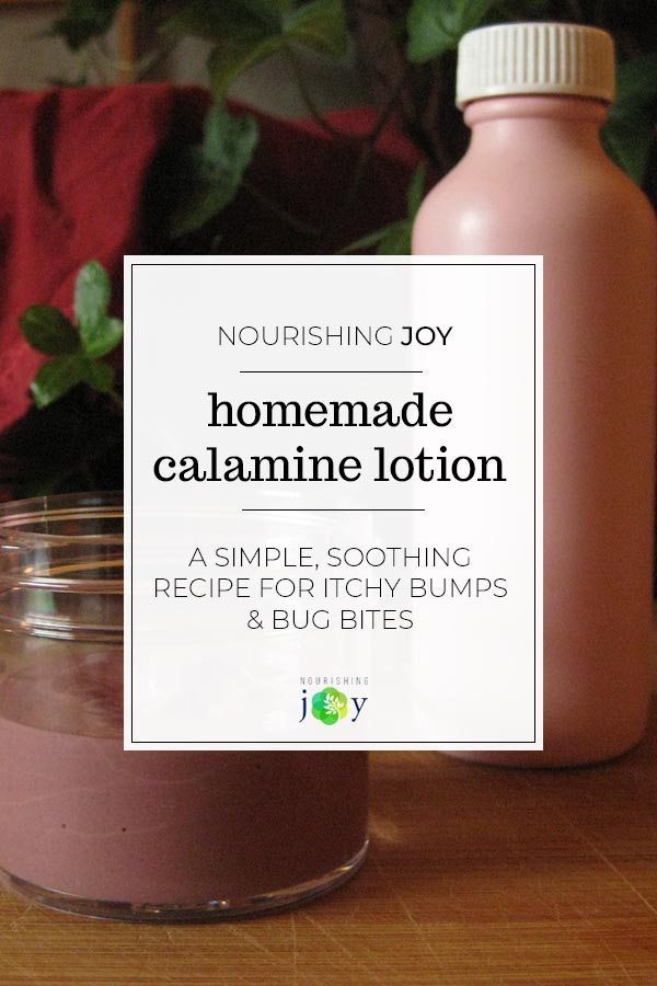 Homemade calamine lotion is an easy, effective natural remedy for all the itchy, buggy unpleasantries that can come with summertime. Whether it's a bee sting or a poison ivy rash, this homemade calamine is quick and easy to mix up!