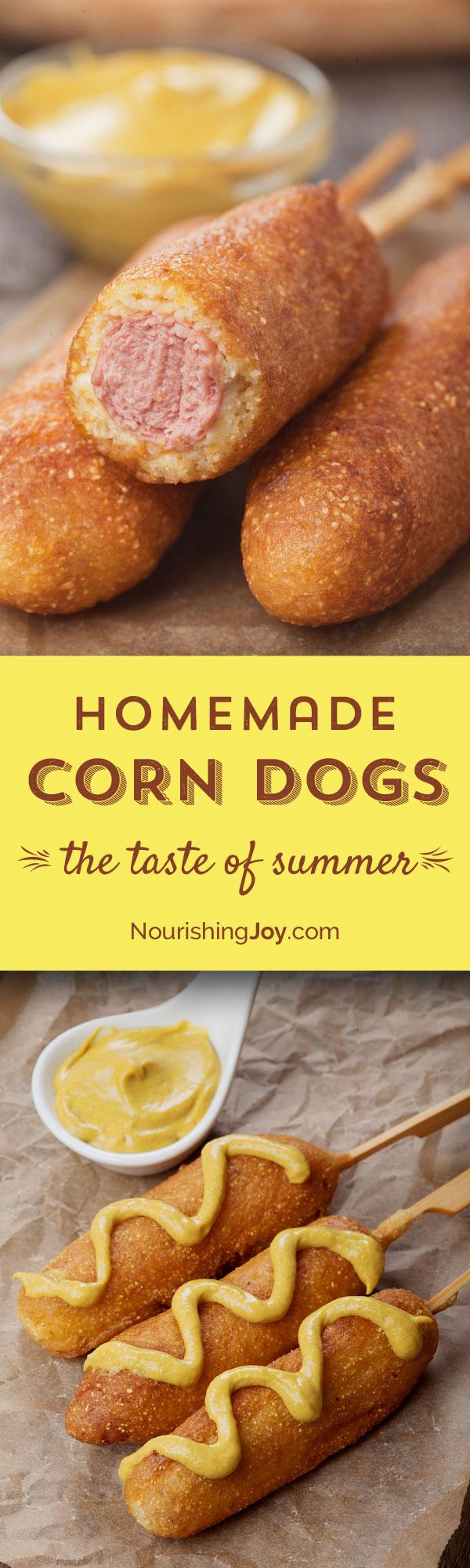 Corn dogs have gotten a bad rap - trans fats, poor quality meats, you name it. But they don't have to be that way! They're delicious and meet all your nutritional and ethical criteria when you make them at home. (My sister prefers making them with veggie dogs, but my favorite is free range sustainable beef. What's yours?)