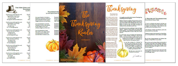 The Thanksgiving Reader is a delightful collection of poems, quotes, stories, and other short readings to be read around the Thanksgiving table in order to provide both laughter and food for thought as family and friends gather to give thanks.
