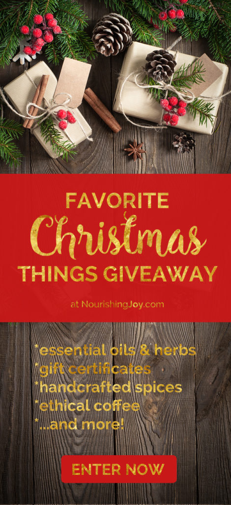 It's time for the annual Favorite Christmas Things giveaway! Enter to win 12 different giveaways and discover new favorite Christmas things for YOUR home and family. This year we've got essential oils, herbs, coffee, baking mixes and exotic spices blends, gift certificates, and SO much more!