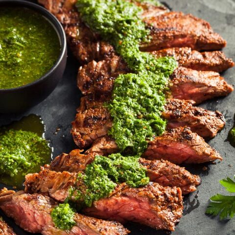 This simple, scrumptious chimichurri sauce made mostly of parsley, garlic, and olive oil tastes amazingly fresh and pairs with red meat, fish, and chicken oh-so-beautifully!